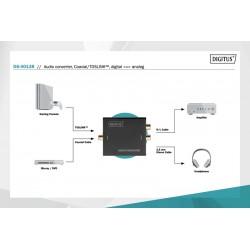 Convertor optic Toslink sau coaxial digital la 2xRCA si 3.5 stereo analogic Digitus