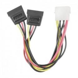 Cablu Y alimentare Molex la 2xSATA 0.2m QOLTEC
