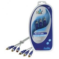 Cablu 3RCA tata - 3RCA tata 1.5m  HQSA-080-1.5