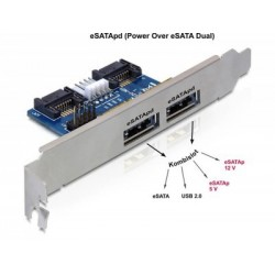 Bracket eSATAp(eSATA+USB 5v/12v) 2porturi Delock